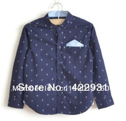 Wholesale boy&#39;s shirt long sleeve 100% cotton shirts 2013 children coat for boys white and navy blue gent shirt 5pcs/lot(China (Mainland))