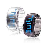 Hot Selling Fashion Unisex Transparent Futuristic Blue Light Digital LED Wrist Watch