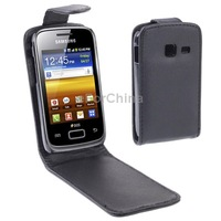 SALE   Free Shipping Business Style Vertical Flip Phone Leather Case for Samsung Galaxy Y Duos/ S6102, Black
