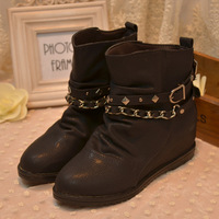 Fashion chain rivet buckle motorcycle boots ankle boots women's elevator shoes