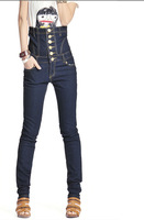 2013 spring female high waist skinny pencil pants jumpsuit single breasted jeans, free shipping