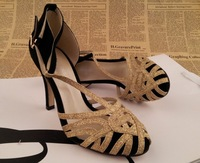 Fashion comfortable 2013 gold paillette cutout sexy high-heeled shoes 35 - 39