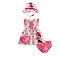 2013 New Fashion Kids Summer Clothes set, Girls Minnie dress + pants + double sun hat 3pcs set.children wear infant set