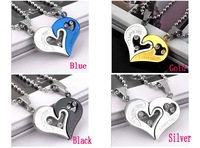 Titanium Steel Necklace Love couple  Pendant  Never  Fade  Fashion Jewelry Free shipping  Mixed Wholesale