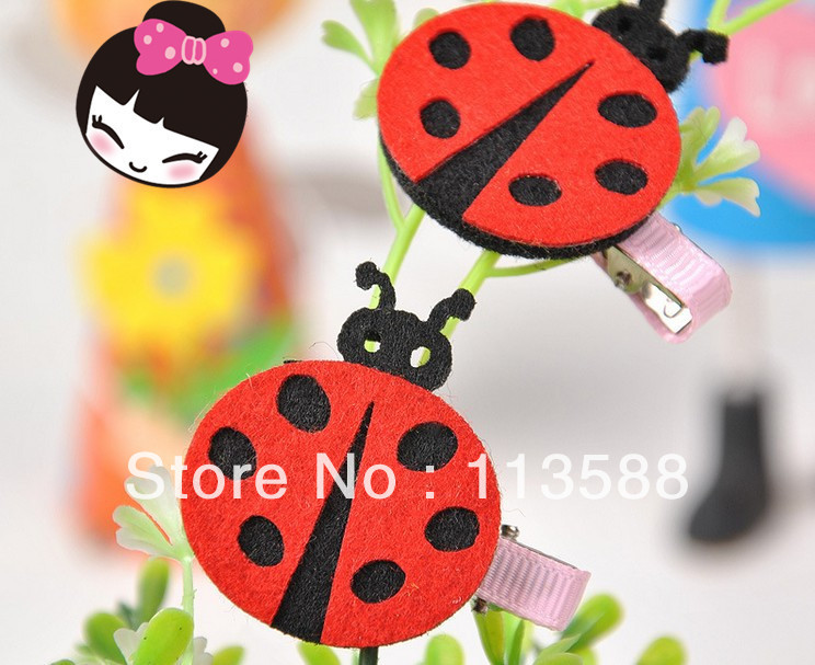 50pcs/lot Free shipping 4.5-5cm HA0206 new model 5colors cute ladybug Korean children hair clips jewelry factory direct sale(China (Mainland))