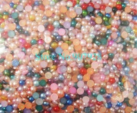 10000pcs/bag x 3mm Mixed Color Half Round Flatback Pearl Beads for Nail Art Decoration Cellphone Laptop Free Shipping Wholesale