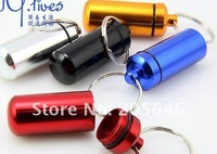 50pcs Pill Box keyring, Waterproof Aluminium pill cntainer keychain,pill Travel Metal Holder Case Container pendant  free