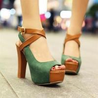 thick heel open toe sandals
