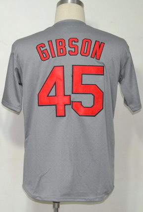 Free Shipping #45 Bob Gibson Men's Authentic 1967 Road Grey Throwback Baseball Jersey(China (Mainland))
