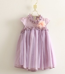 2013 summer lace light purple girl dress princess floral brooch ball gown tutu dress(China (Mainland))