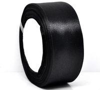 "50yards Free Shipping 1-1/2"" Black Satin Ribbon Wedding Sewing DIY"