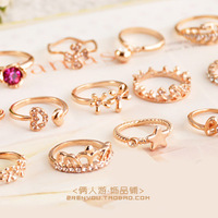 Sparkling diamond fashion exquisite all-match full rhinestone rose gold ring pinky ring female