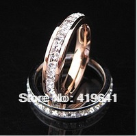 free   shipping  rose gold ring on finger  trendsetter couple female lovers Ring 18K crystal