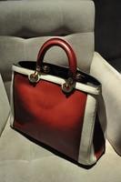 Fashion star style 2013 issimo color block decoration cowhide portable women's one shoulder handbag
