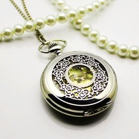 Pocket watch lock male women's vintage Large white honey flower gold watch