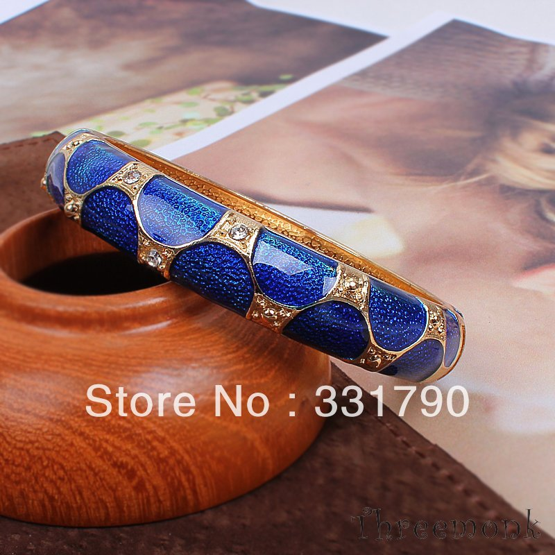 Free shipping new design letest snake stripe dark blue bangle agent supplier enamel bracelets 5pcs/lot factory price wholesale(China (Mainland))