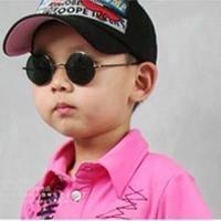 Fashion Handsome and Cool Vintage Kids Sunglasses Stylish Small round boys Sunglasses Children Eyeware Black&Tawny Free Shipping