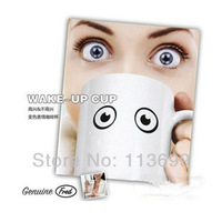 Retail Package Big eye Wake-Up cup Color Changing Cup, Ceramic Mug 350ml Heat Sensitive Coffee Tea Cup Z007 Free Shipping