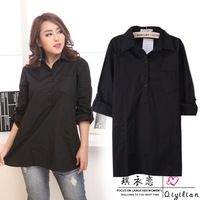 New brand casual plus size women black/blue long sleeve shirt