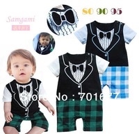 2013 new arrival gentlemen modeling bowtie short-sleeved plaid pants rompers bodysuit clothes baby jumpsuit 6#13051101