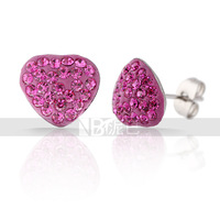 Free Shipping  Fashion Simple Heart  Stud Earrings with Rose Crystal