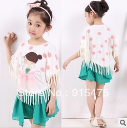 free ship, Children's wear girl summer clothing Short-sleeved T-shirt tassels batwing coat T-shirt(China (Mainland))