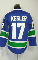 #17 Ryan Kesler Men's Authentic Home Blue Hockey Jersey