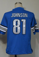 #81 Calvin Johnson Men's Game Team Blue Football Jersey