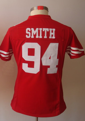 Free Shipping #94 Justin Smith Women&#39;s Game Team Red Football Jersey(China (Mainland))
