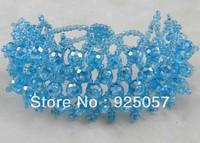 Sea Blue AB Crystal Beads Hand-knitting Flower Fashion Net-shaped Bracelet B09 Fashion jewelry