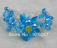 Beautiful! Sea Blue Crystal Beads Hand-knitting Flower Fashion Bracelet B08 Fashion jewelry