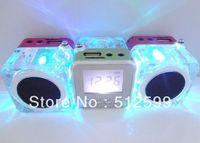 5% OFF Crystal Colorful light Stereo sound box NIZHI TT028 Mini music Speaker Support U-disk/TF Card with FM radio 30pcs DHL