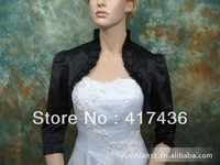Free Shipping Wholesale black satin lace wedding wraps shawls 3 4 long sleeve party events evening bridal jackets bolero 2014