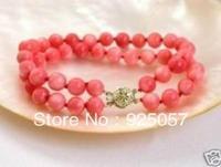 "ELEGANT 2 ROWS PINK CORAL ROUND BEAD BRACELET 7.5"" Fashion jewelry"