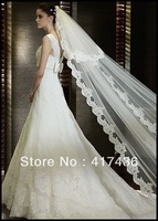 Bridal veil 5 meters long elegant aesthetic lace tulle veil wedding accessories extra ultra long veil white Ivory Free Shipping
