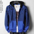 2013 letter print male sports casual with a hood sweatshirt outerwear - blue