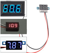FREESHIPPING + Blue LED Panel Meter Mini Lithium Battery Digital Voltmeter DC 3.3V - 17V
