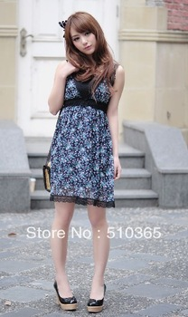 Free Shipping 2014 Summer Casual Novelty Mini Cute Vintage  Chiffon Print Lace Sleeveless Deep V-Neck  women mini dress 285JLTX