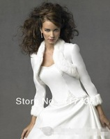 Noble Wedding Accessories 3/4 Sleeve Length White Faux Fur Collar Satin Bridal Bolero Shawl Wraps Party Jackets Bride Coat