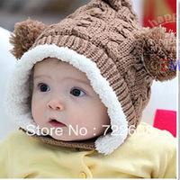 retail Plus velvet winter hat wholesale Elf double ball plus velvet bonnet baby ear hat baby hat