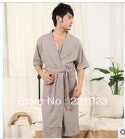 2013 new waffle cotton short sleeve summer gown bathrobe thin absorbent household to take