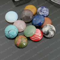 (27240)Flat back Cameos Cabochons for Necklace Pendants Natural stone & synthetic stone,Random color,18MM 5PCS