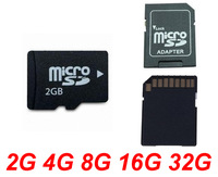 Free shipping 2GB 4GB 8GB 16GB 32GB 64GB Micro SD Card TF Flash Memory Card with SD Adapter +  White Plastic Box