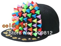 Free Shipping 2013 Punk Style, Triangle diamond flat brimmed hat, Personalized fashion hip-hop cap, Snapback caps