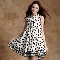 2014 summer Maternity clothing fat ladies brief polka dot maternity one-piece dress pregnant women's bow collar pleated dress