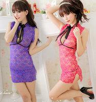 Temptation sexy sleepwear short skirt lace perspective cheongsam classic cheongsam nightgown