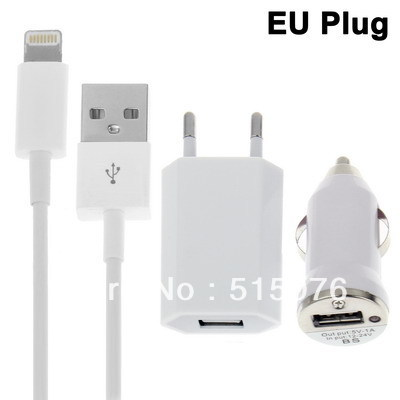 3 in 1 EU Plug Home Car Charger USB Cable Travel Kit for iPhone 5 iPad mini iTouch 5 adapter cable white(China (Mainland))