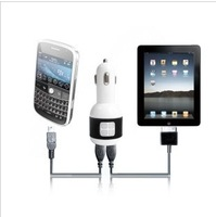 1pcs free shipping for 2.1A dual usb car charger for ipad for iphone 4/5 with retail package