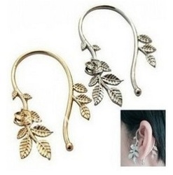 Free Shipping Punk Cute Sweet Rose Flower Leaf Leaves Ear Cuff Wrap Earring Wholesale(China (Mainland))