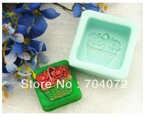 Grátis frete cesta 3D suave Silicon resina sabão moldes moldes para bolinho comida vela doce Jelly bolo Craft sabão cortador artesanal(China (Mainland))